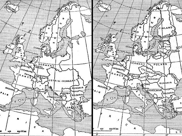 Kart som sammenlikner Europa i 1914 og i 1924. Illustrasjon.