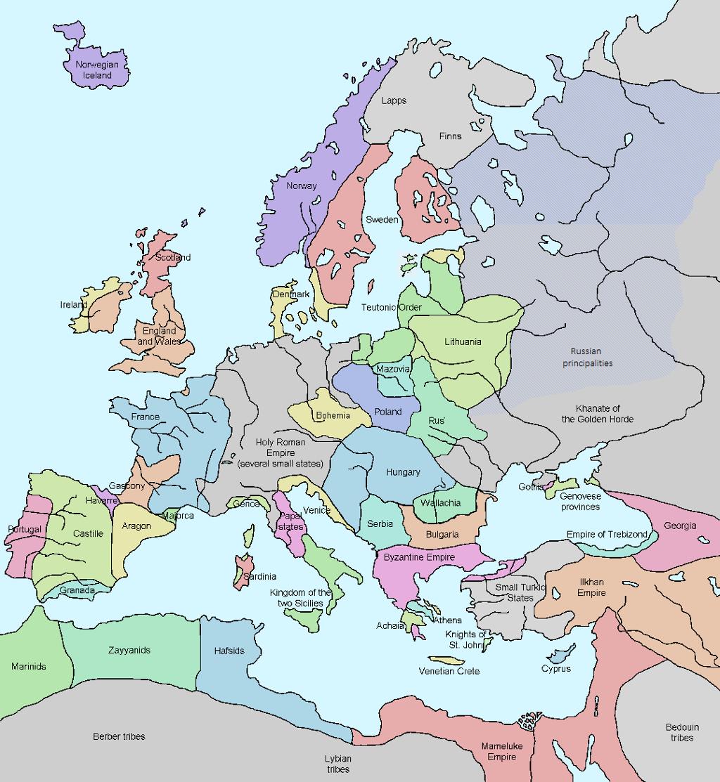 Europa under føydalismen på begynnelsen av 1300-tallet. Kart.