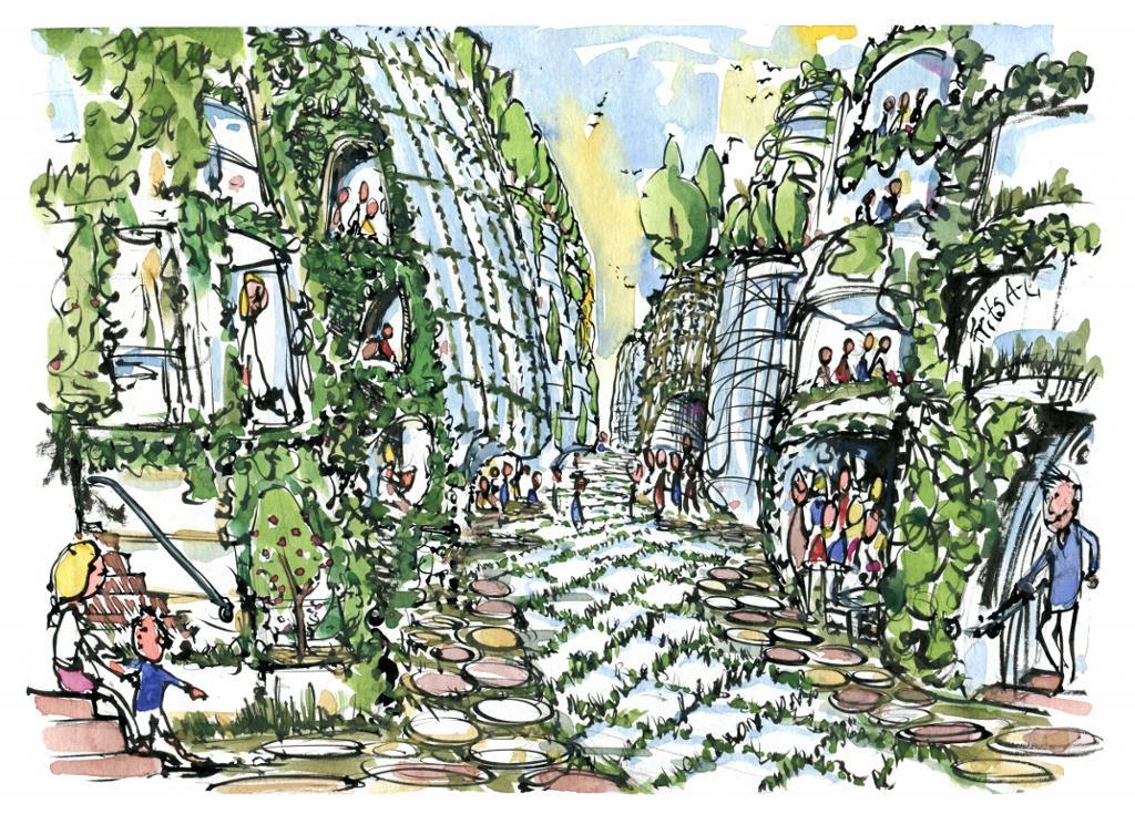 Gate i by der bygniner og trær går i hverandre. Grafikk.