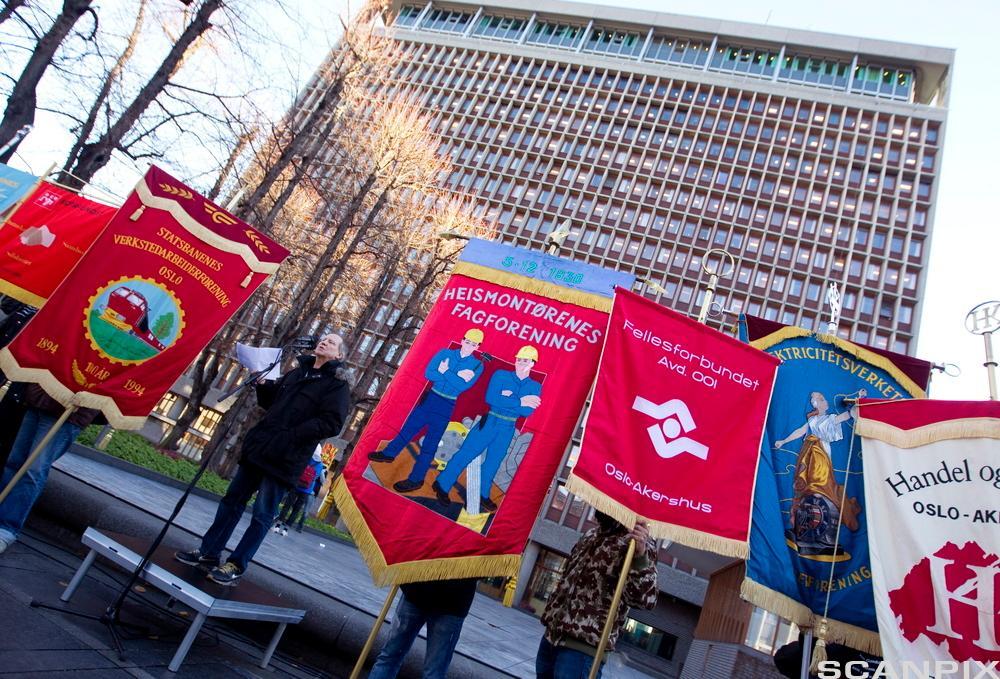 Fagorganiserte streiker. Foto.