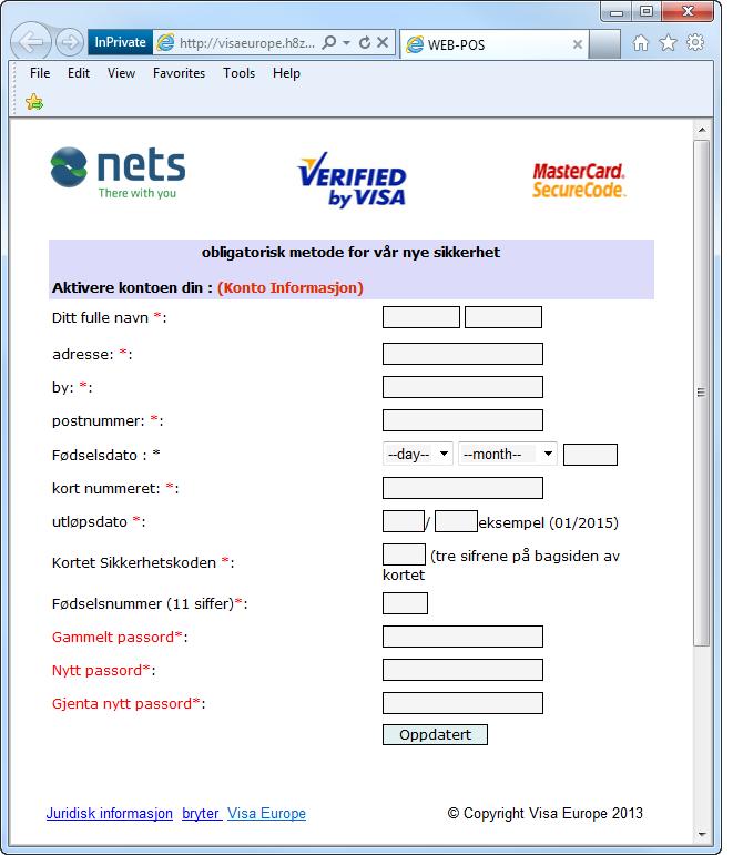 Eksempel på falsk nettside som tilsynelatende kan se ut som Visa sin hjemmeside med en rekke felter hvor brukeren blir spurt om sensitiv informasjon. Foto.