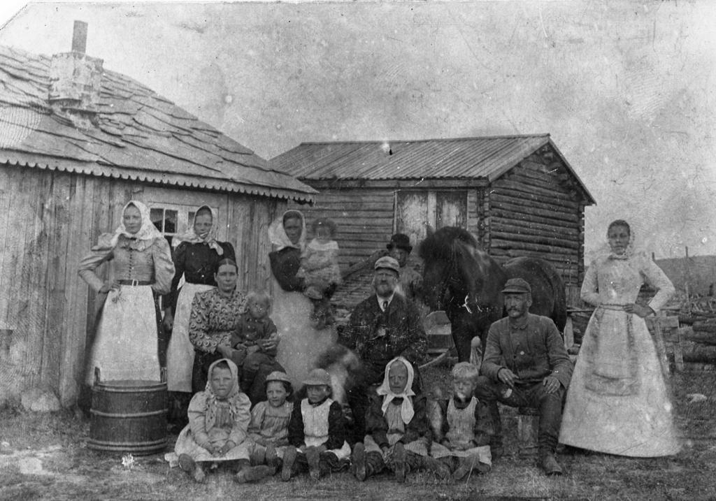 Stor-familie på Embrettstua seter i Stor-Elvdal, ca 1890. Foto.