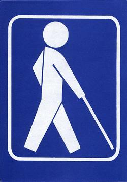 Skilt med symbol for blinde og svaksynte
