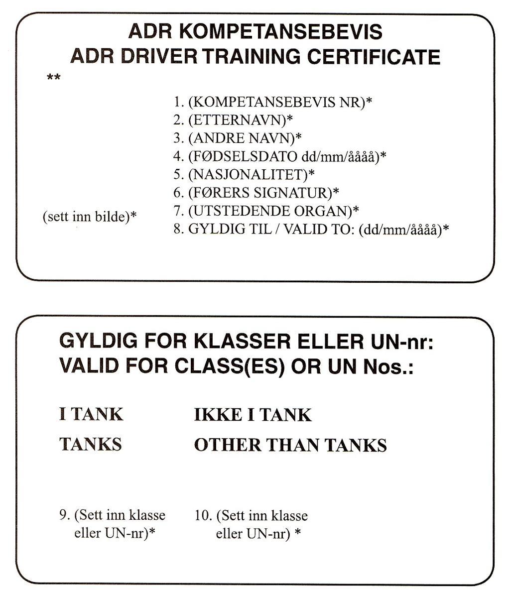 Mal for ADR-kompetansebevis