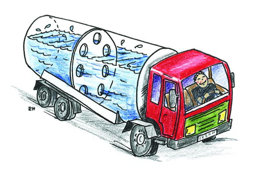 Tankbil med skvalpeskott
