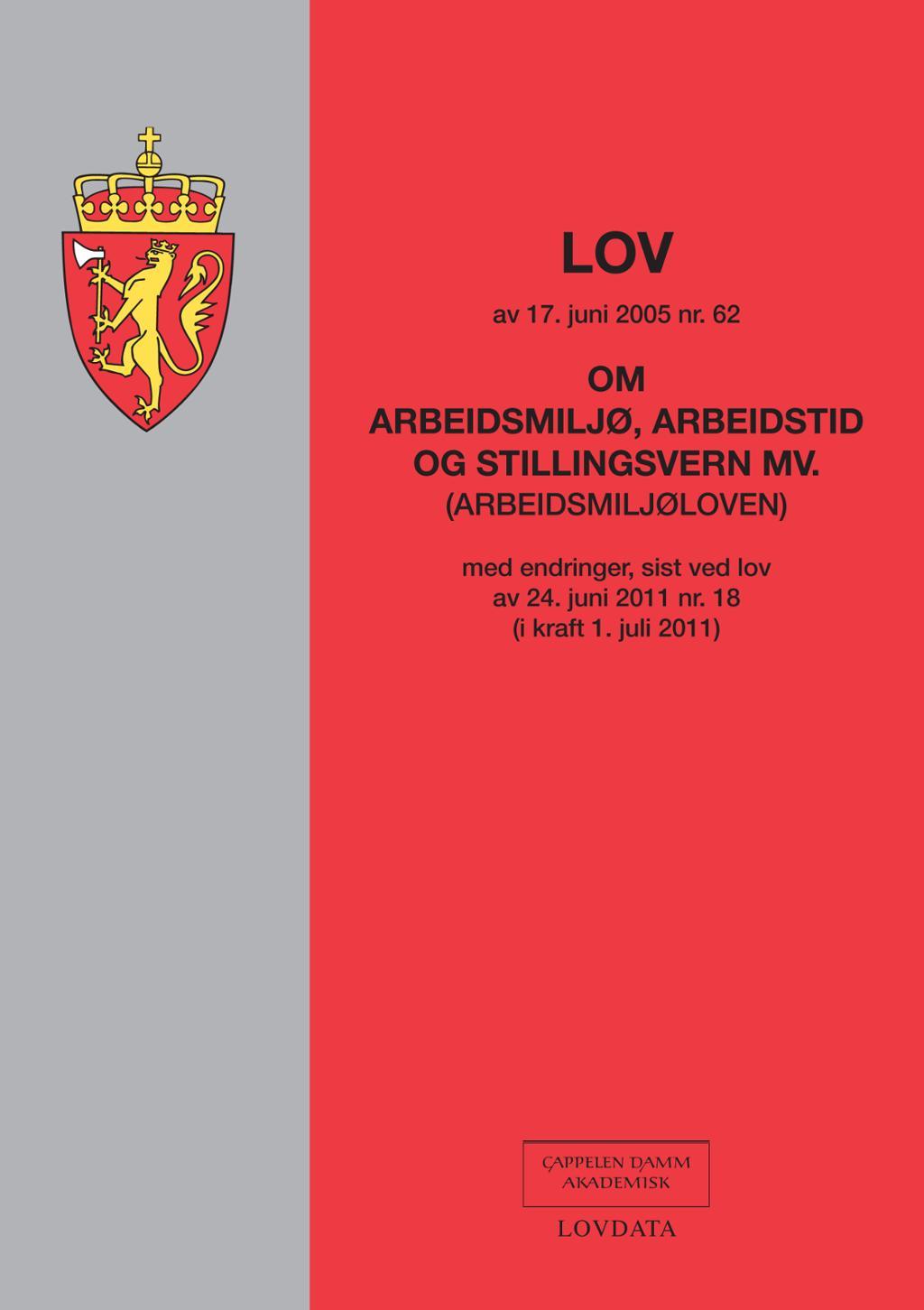 Framsida av Arbeidsmiljøloven. Foto.