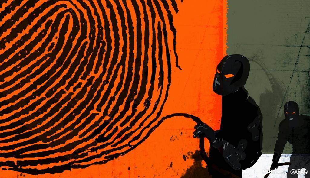 Maskerte røvere stjeler fingeravtrykk. Foto.
