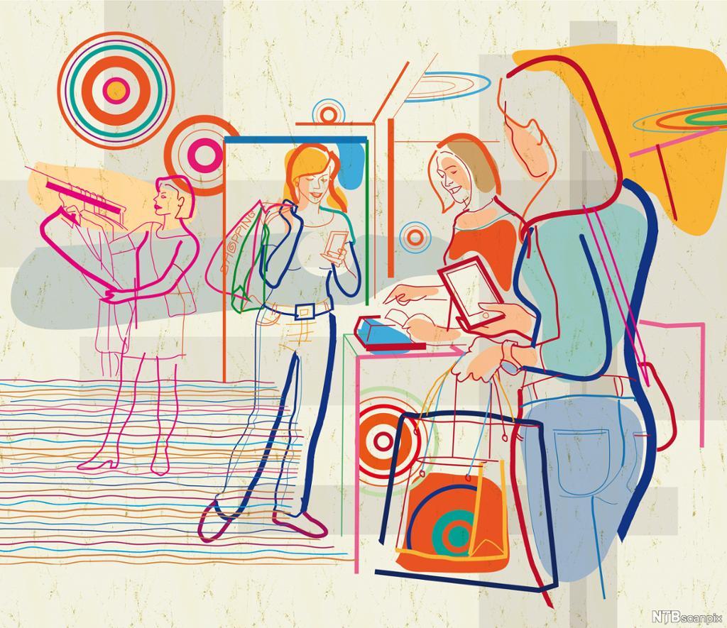 Kvinner som handler med mobil. Illustrasjon.