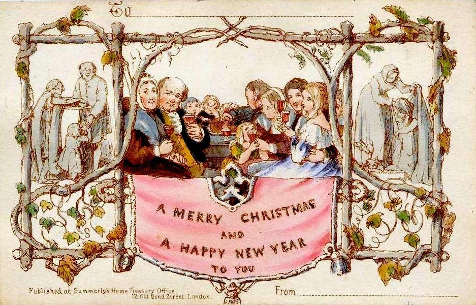 Verdens første julekort. Illustrasjon.