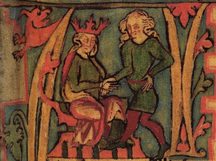 Harald Hårfagre fra islandske Flatøybok. Illustrasjon.