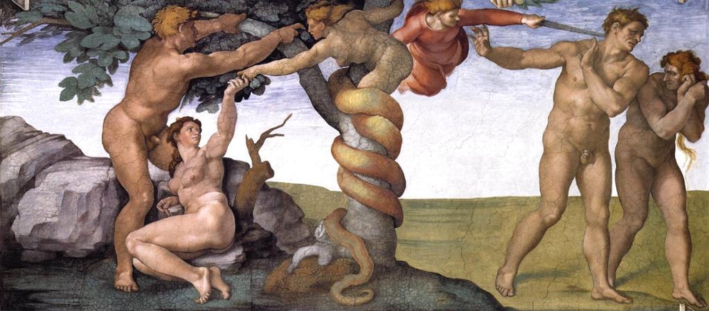 Maleri av Adam og Eva før og etter syndefallet