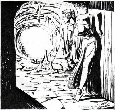 Flash Gordon av Alex Raymond, kvinne i hule. illustrasjon.