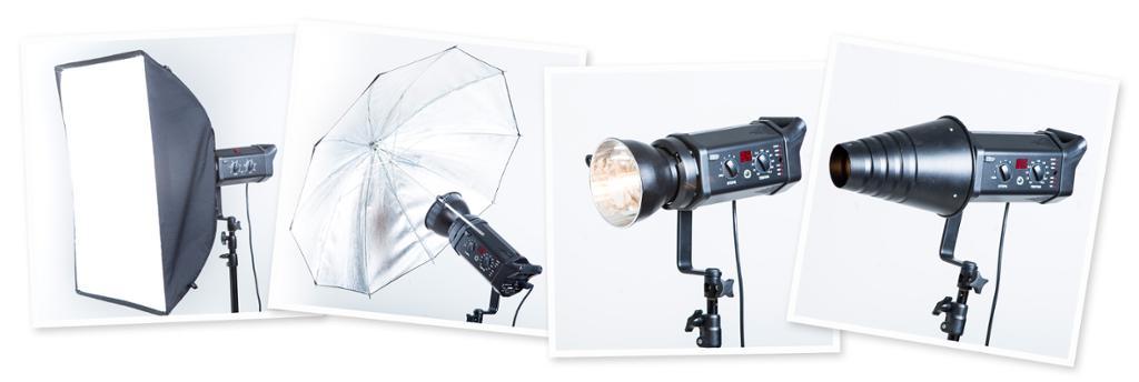 Kollasj med forsatser.  Softboks, paraply, reflektor og snoot. Foto.