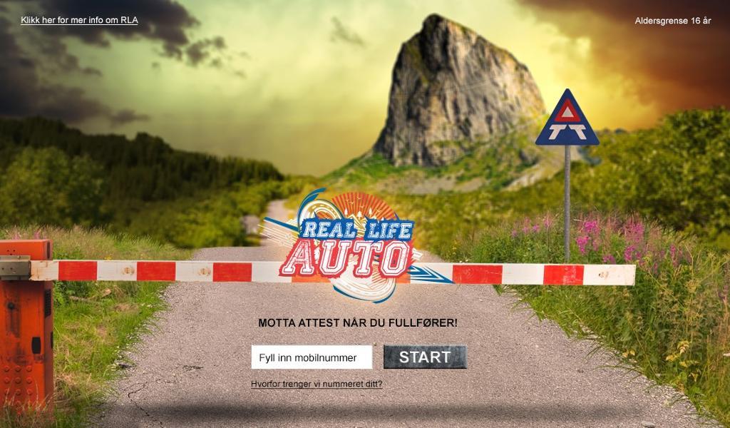 Oppstartsbildet i trafikkspillet Real Life Auto. Skjermdump.