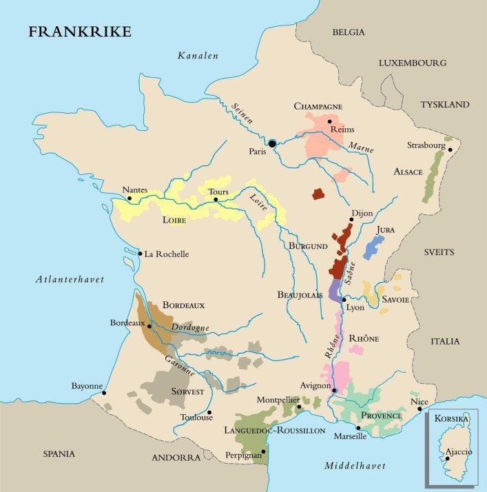 vinkart over frankrike