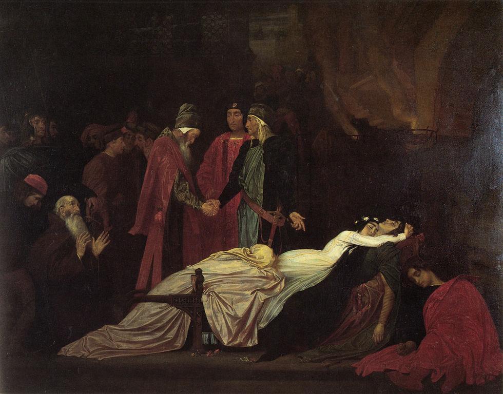De døde skikkelsene til Romeo og Julie omgitt av voksne. Maleri.