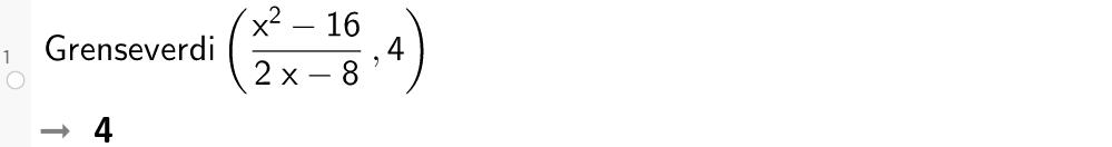Grenseverdi for en brøk der både teller og nevner går mot null i GeoGebra. Foto