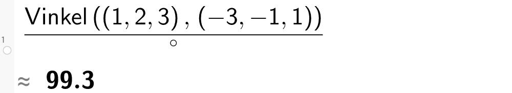 Vinkel mellom vektorer i CAS GeoGebra. Bilde.