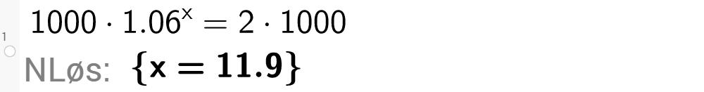 Løse eksponentiallikning i Geogebra. Bilde.