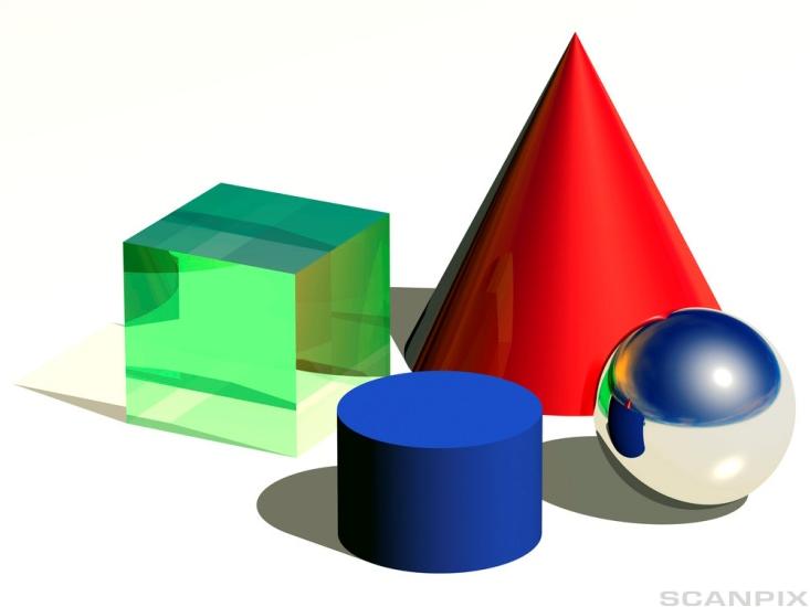 Bilde av ulike geometriske former. Illustrasjon.