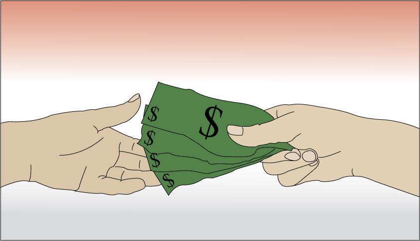 To hender utveksler en seddelbunke. Illustrasjon.