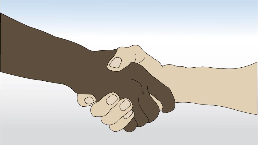 Håndtrykk mellom en lyshudet og mørkhudet person. Tegning