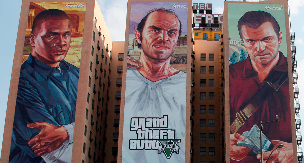Gran Theft Auto V lansering på husvegger. Foto.