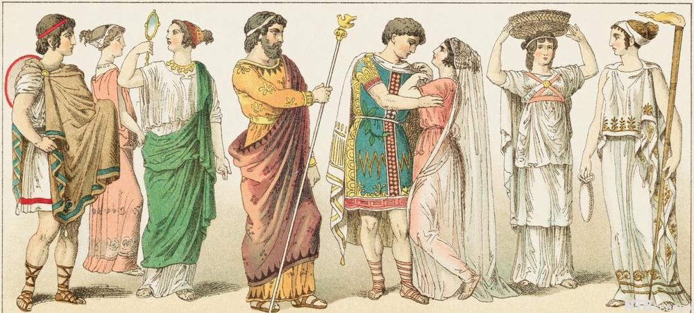 Åtte greske modeller med ulike typer bekledning. Illustrasjon