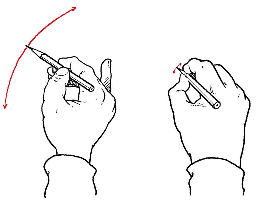 Hånd som griper en blyant. Tegning.