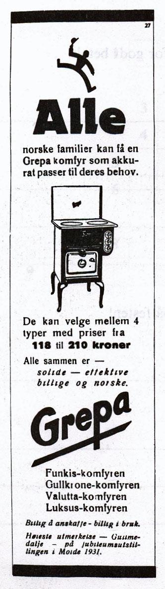Grepa komfyrer. Reklame.