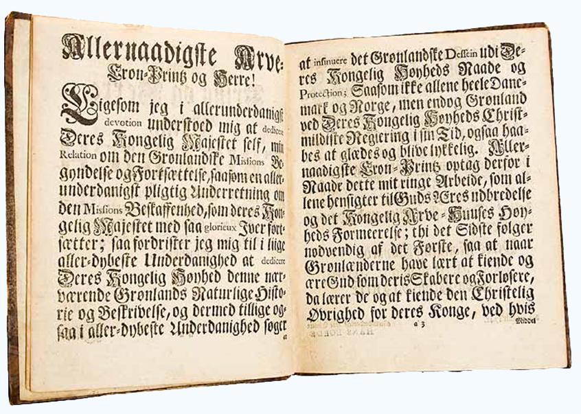 Innledningen til Hans Egdes bok trykt med gotisk skrift. Faksimile.