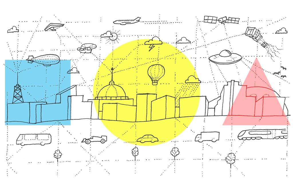 Former og figurer. Uthevet i farger er trekan, firkant, og sirkel. Illustrasjon.