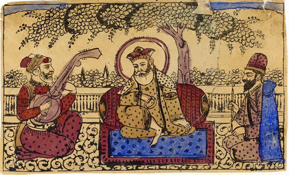 Guru sitter på teppe under et tre omgitt av to menn. Illustrasjon.