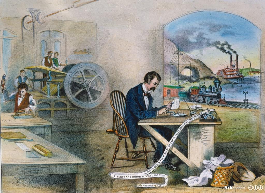 Telegraf, dampbåt, lokomotiv og hurtigpresse. Illustrasjon