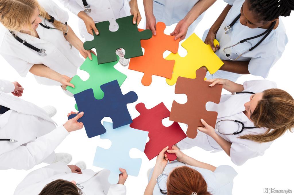 Fagarbeidere med ulik kompetanse samarbeider for å løse en oppgave. Foto.