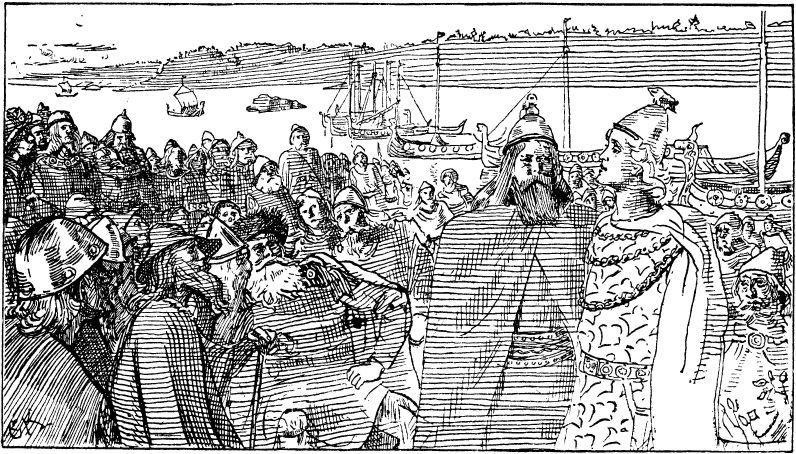 Håkon den gode taler på tinget til trønderne. Illustrasjon til Heimskringla 1899-versjon.