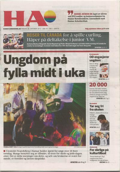 Faksimile av forsida til Hamar Arbeiderblad 26. oktober 2012