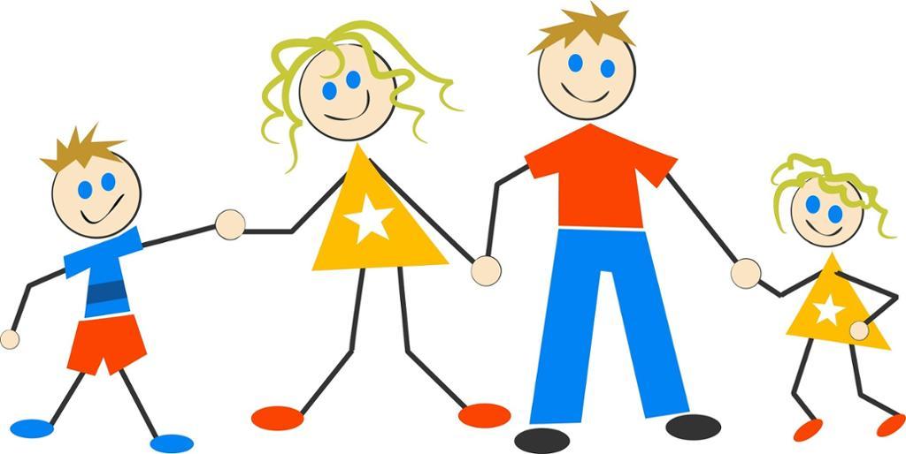 To voksne og to barn hånd i hånd. Tegning.