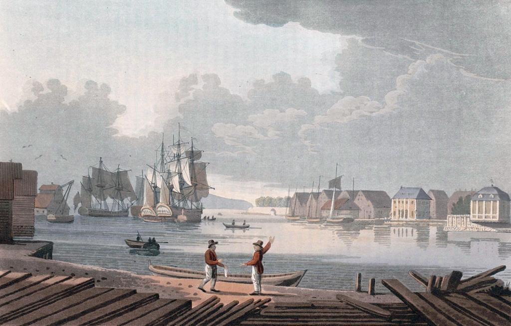 Christiania Havn i 1800. Trykk.