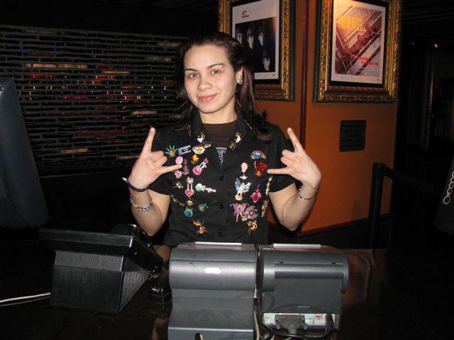 Waitress at Hard Rock Cafe, New York