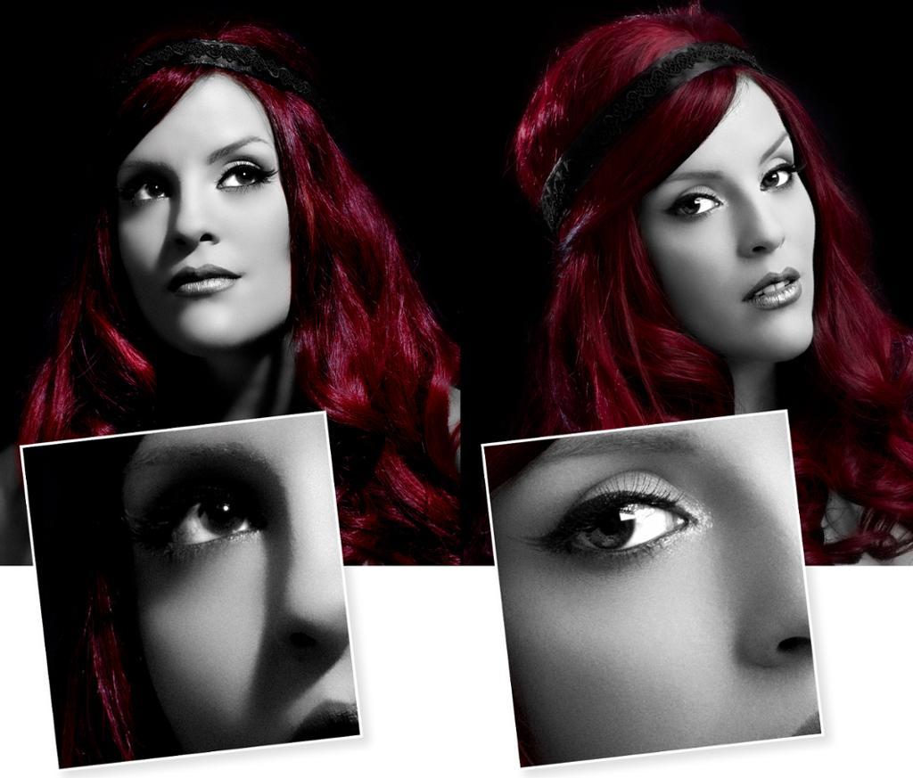 Kollasj av to portrett med myk og hard lyssetting. Foto.
