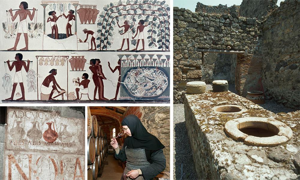 På biletet ser du eit egyptisk kryptmaleri øvst t.v., eit romersk vinbutikkskilt og ei nonne som luktar på vin. T.h