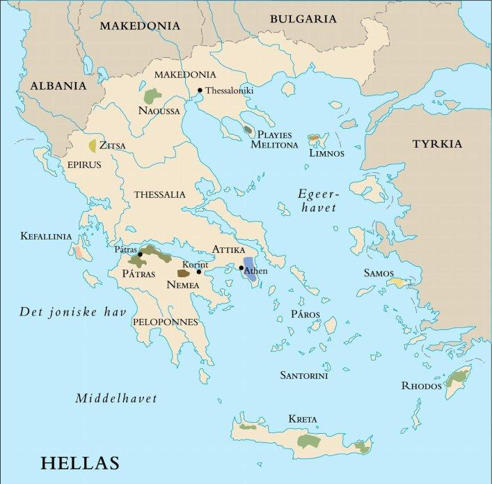 Kart over vinområdene i Hellas. Foto.