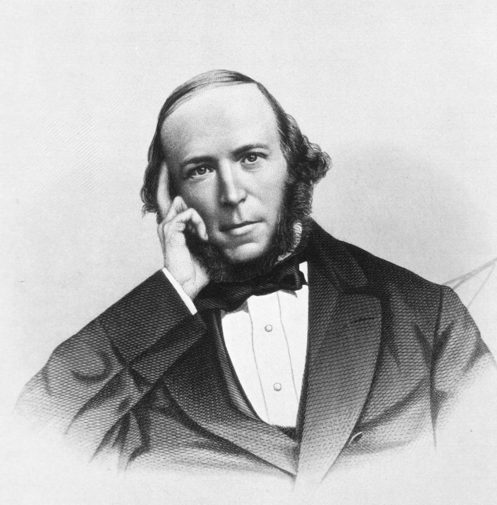 Den engelske filosofen, biologen og sosiologen Herbert Spencer. Trykk.