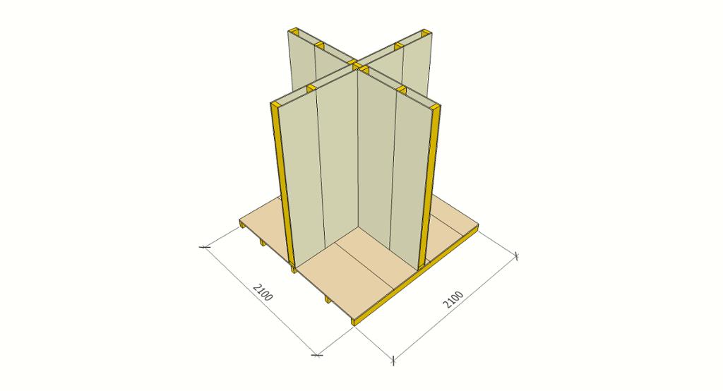 Hjørnemodul med gulv og vegger i kryss. Tegning.