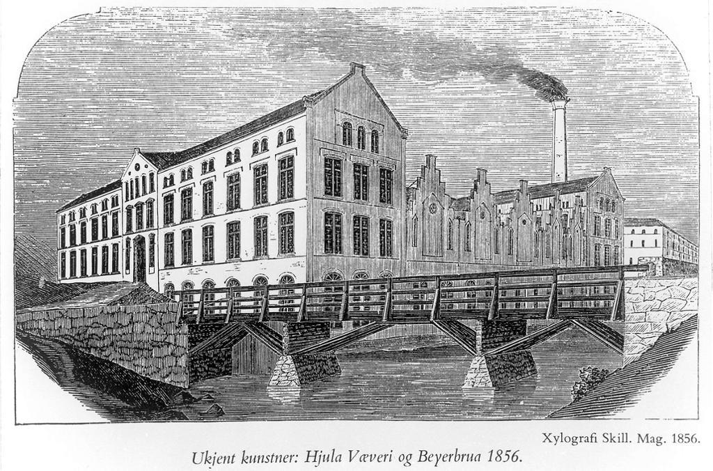 Hjula væveri og Beyerbrua i 1856. Til høyre Nedre Vøiens kornmølle. Tegning.