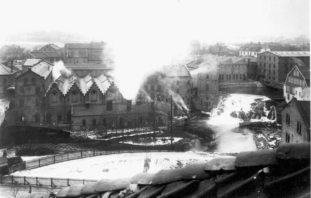 Hjula væveri ved Akerselva, sett fra øst, ca 1900. Foto.