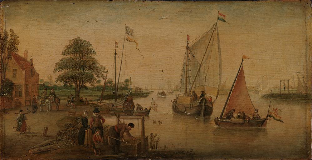 Mennesker og skip ved en hollandsk kanal. Maleri.