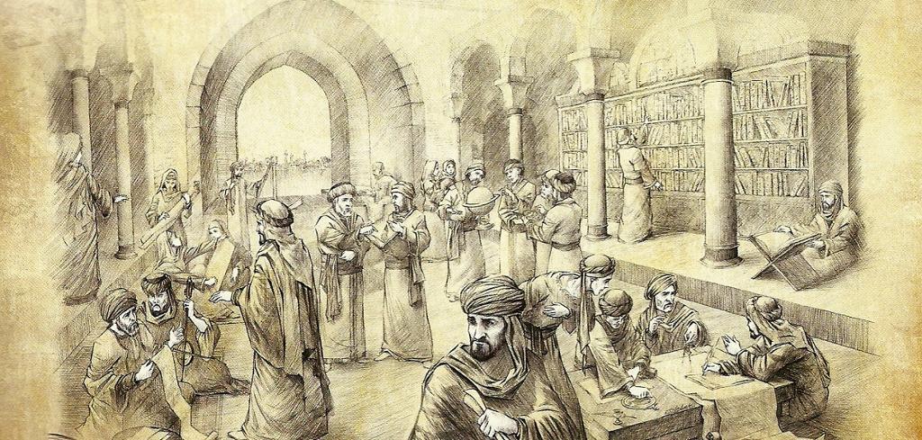 Menn med muslimske hodeplagg studerer i eit stort rom fylt med bøker. Illustrasjon.