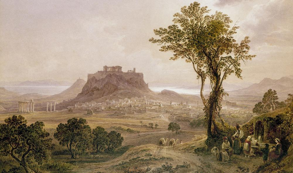 Akropolis på toppen av en høyde med byen Athen under. Maleri.
